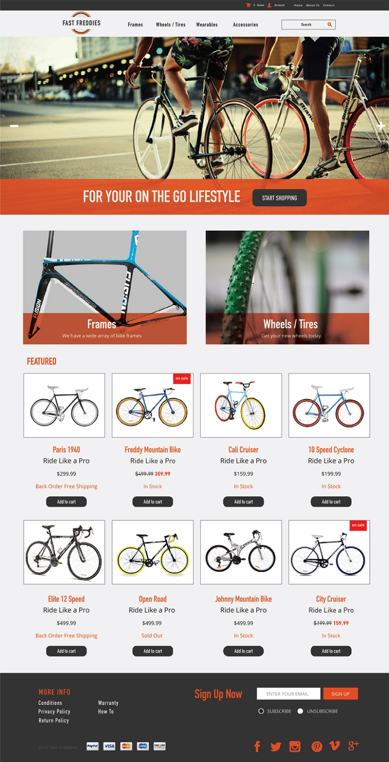 bike shop 3dcart themes bike shop ecommerce website template. Black Bedroom Furniture Sets. Home Design Ideas