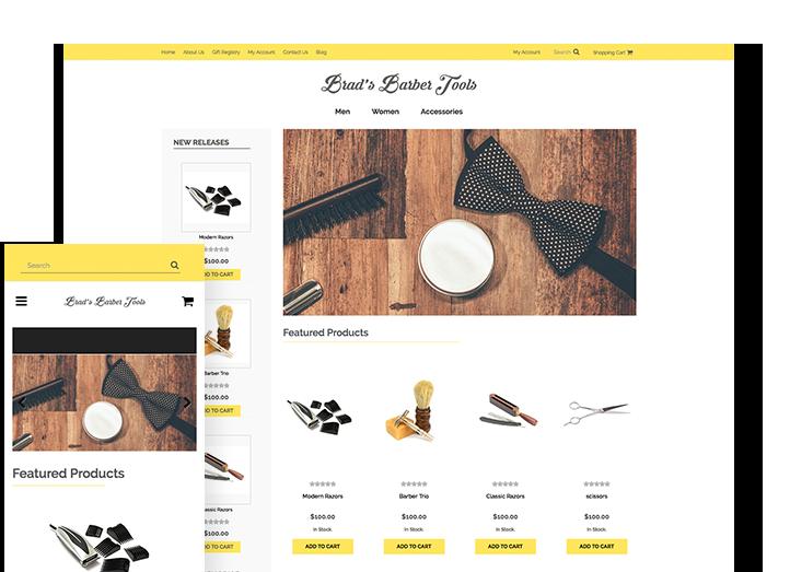 barber shop website template 3dcart. Black Bedroom Furniture Sets. Home Design Ideas