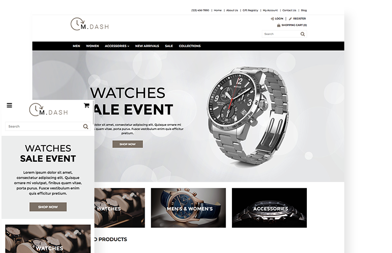 Premium Watches Website Template For Ecommerce 3dcart