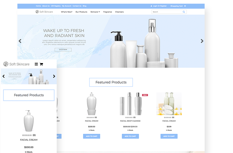 Skincare Website Template For Ecommerce 3dcart