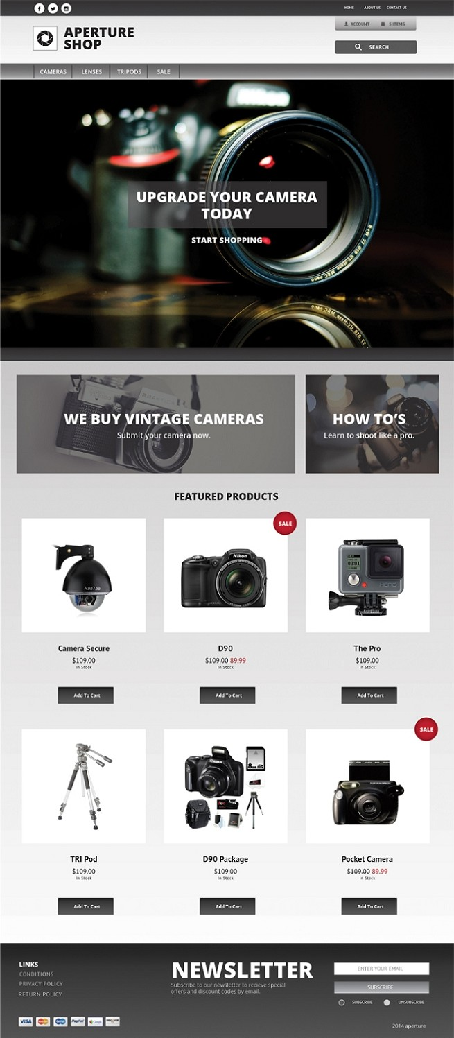 Aperture - 3dcart themes - Aperture Ecommerce Website Template